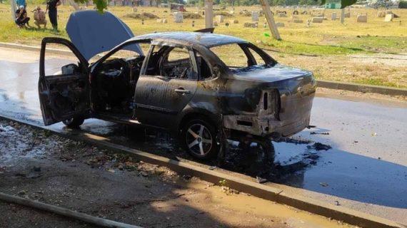 В Симферопольском районе сгорела легковушка