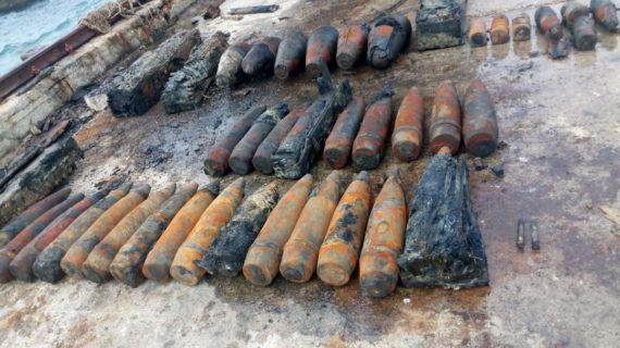 С затопленного теплохода «Жан Жорес» в Феодосии подняли взрывоопасные предметы