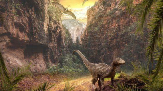 Необычный подарок к Новому году: В Саки привезли динозавра