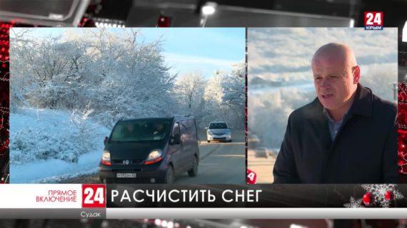 Сильный снегопад этой ночью обрушился на Восточный Крым